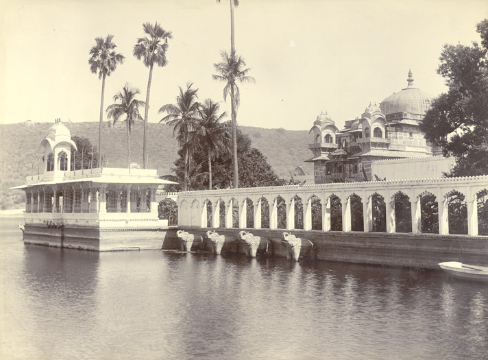 The Jagmandir (water-palace), Udaipur. From the north-west